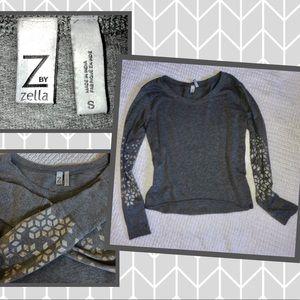 Z by Zella Grey sweatshirt knit top soft sz sm.☑️